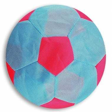 Peuterspeelgoed licht blauw/roze zachte voetbal 23 cm
