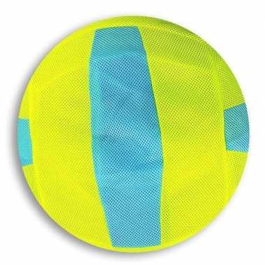 Peuterspeelgoed lime groen/blauwe strepen zachte voetbal 23 cm