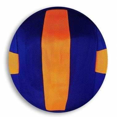 Peuterspeelgoed oranje/blauwe strepen zachte voetbal 23 cm