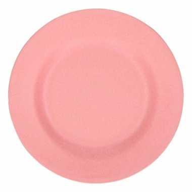 Picknick bordjes van bamboe vezel roze 17,5 cm