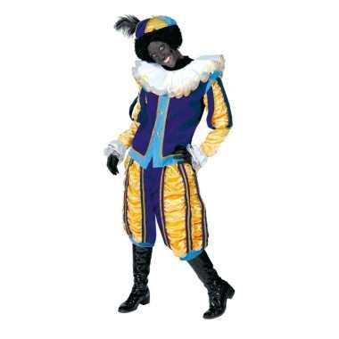 Pieten verkleedkleding geel met blauw voor dames en heren