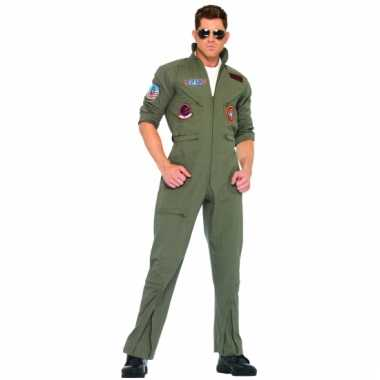 Piloten overall legergroen voor volwassenen