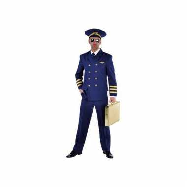 Piloten verkleedkleding blauw heren