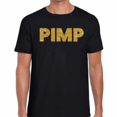 Pimp glitter tekst t-shirt zwart heren