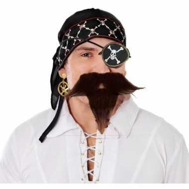 Piraat verkleedsetje bandana ooglapje snor en baardje