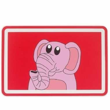 Placemat rood met roze olifant 44 cm