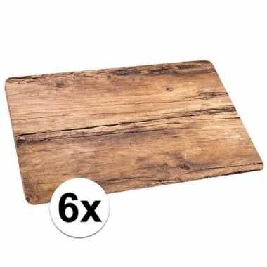 Placemats eikenhout bedrukt 6 stuks 44 x 28 5 cm