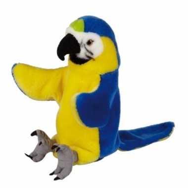 Pluche blauw gele ara papegaaien handpop 25cm