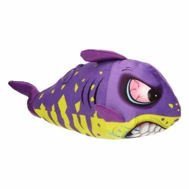 Pluche haai paars met geel 24 cm