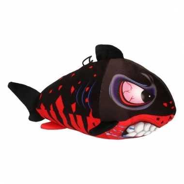 Pluche haai zwart met rood 24 cm