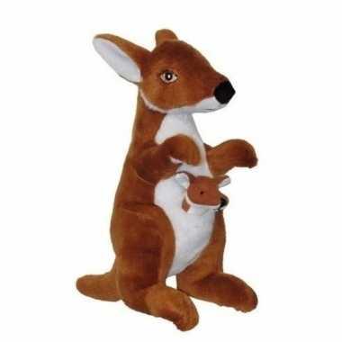 c04cd96b387538 Pluche knuffeldier kangoeroe met baby in buidel 28 cm | Pchoofdstraat.nl