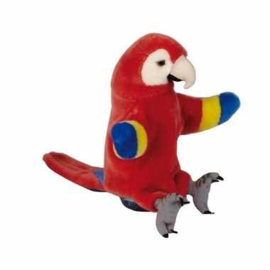 Pluche rode ara papegaaien handpop 25cm