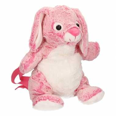 Pluche roze konijntje tas voor kind 20 x 36 cm