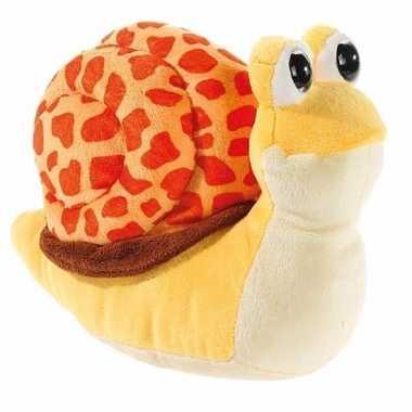 Pluche slakken knuffels geel/oranje
