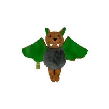 Pluche vleermuis groen 14 cm