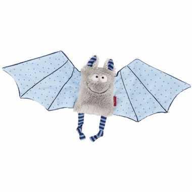 Pluche vleermuis knuffel blauw grijs