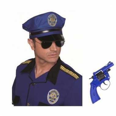 Politie verkleedsetje politiepet met nep revolver