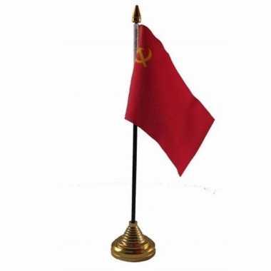 Polyester russische sovjet unie vlag voor op bureau 10 x 15 cm