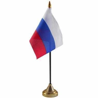 Polyester russische vlag voor op bureau 10 x 15 cm