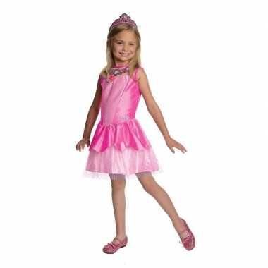 Prinses jurkje roze met tiara voor meisjes
