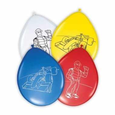Race/formule 1 kinderfeestje ballonnen 8 stuks