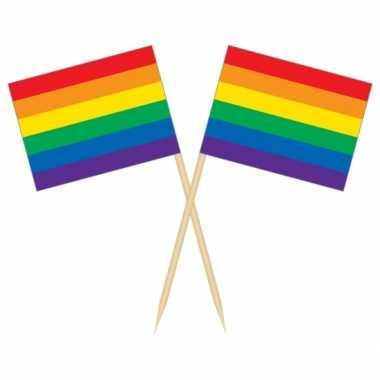 Rainbow vlag cocktail party prikkers 50 stuks