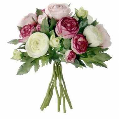 Ranunculus ranonkel zijde kunstbloemen kunstboeket roze 22 cm bruilof