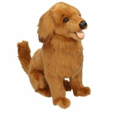 Realistische golden retrievers honden knuffeldier 42 cm