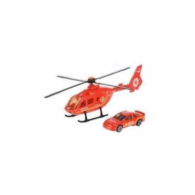 Reddingsbrigade speelset rode helikopter en auto