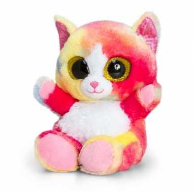Regenboog kat/kitten knuffeldier pluche 15cm