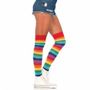 Regenboog kniesokken voor vrouwen