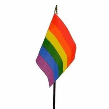 Regenboog lgbt luxe zwaaivlaggetje polyester