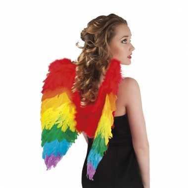 Regenboog verkleedaccessoires vleugels 50 cm