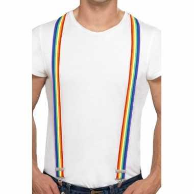 Regenboogkleuren bretels
