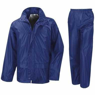 Regenpak winddicht kobalt blauw voor meisjes