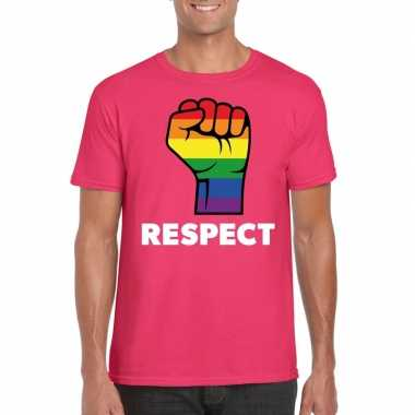 Respect lgbt shirt met regenboog vuist roze heren