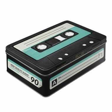 Retro cassette bewaarblik van metaal 23 cm