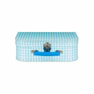 Retro koffertje lichtblauwe ruitjes 25 cm