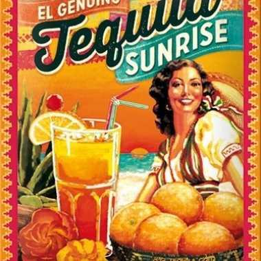 Retro muurplaatje tequila sunrise 15 x 20 cm