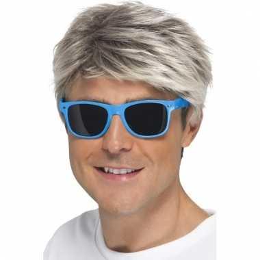Retro verkleed bril neon blauw met donkere glazen