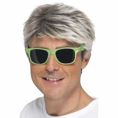 Retro verkleed bril neon groen met donkere glazen