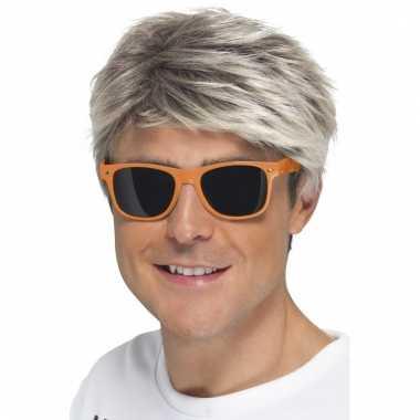 Retro verkleed bril neon oranje met donkere glazen