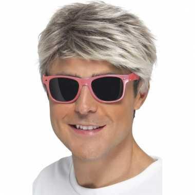 Retro verkleed bril neon roze met donkere glazen