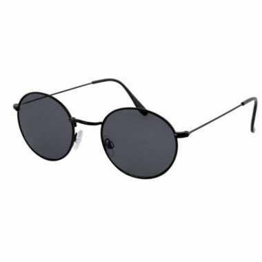 Zonnebril Met Ronde Glazen.Retro Zwarte Zonnebril Met Ronde Glazen