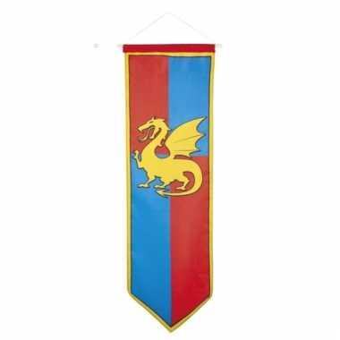 Ridder vlag met draak blauw met rood