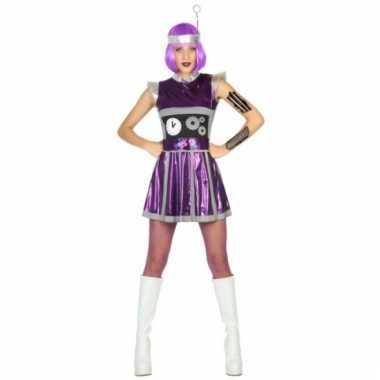 Robot outfit paars voor vrouwen