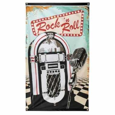 Rock en roll thema vlag 90x150 cm
