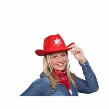 Rode cowboyhoed met sheriff ster en verlichting