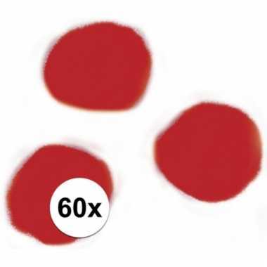 Rode decoratieve pompons 15 mm