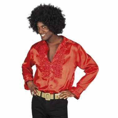 Rode disco blouse voor heren